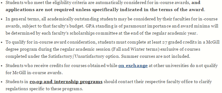 Eligibility of In Course Scholarship of Mcgill Univeristy
