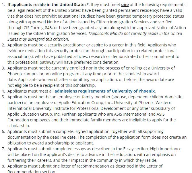 Eligibility of University of Phoenix Scholarhsip