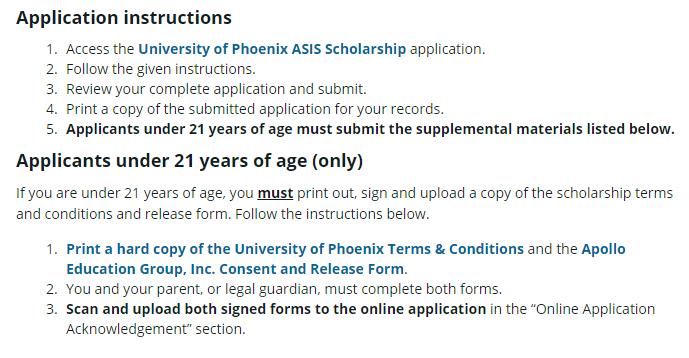 Scholarship Application Process of Univeristy of Phoenix