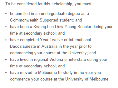 Eligibility for scholarships in australian university?